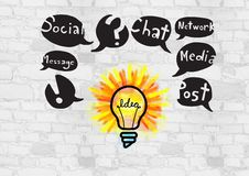 Colourful lightbulb with social media drawings graphics Stock Photography