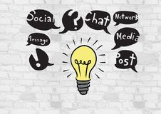 Colourful lightbulb with social media drawings graphics Stock Image