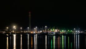 Colourful lit port stock photos