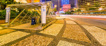 Colourful lights of Macau streets at night, China Stock Images