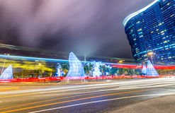 Colourful lights of Macau streets at night, China Royalty Free Stock Images