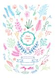 COLOURFUL LINE ART DRAWING VECTOR VINTAGE stock illustration