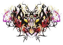 Colourful linear butterfly with red hearts. Grunge butterfly wings against the background of color floral elements, ornate red hearts and the lion`s heads royalty free illustration