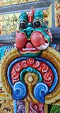 Colourful  lion guardian stucco of   Mahamariamman temple on Silom Road Bangkok , Famously called as Wat Khaek ,  Uma devi temple Royalty Free Stock Photos