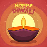 Colourful lit lamp for Happy Diwali celebration. Stock Photos