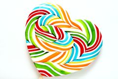 Colourful lollipop, heart shape. Royalty Free Stock Photography