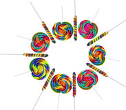 Colourful lollipops isolated on the white backgrou Royalty Free Stock Image