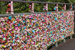 Colourful love locks on fence at Seoul Tower, South Korea Royalty Free Stock Images