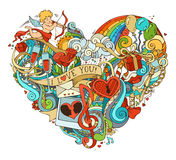 Colourful love poster template with hand-drawn doodles elements. Stock Image