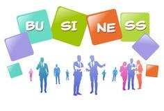 Colourful ludzie biznesu sylwetek, grupa różnorodność biznesmen, pomyślny drużynowy pojęcie A4 hotizontal ilustracji