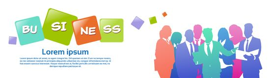 Colourful ludzie biznesu sylwetek, grupa różnorodność biznesmen, pomyślny drużynowy pojęcie, sztandar kopii przestrzeń ilustracja wektor