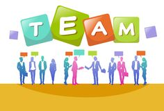 Colourful ludzie biznesu sylwetek, grupa różnorodność biznesmen, pomyślny drużynowy związku pojęcie A4 ilustracji