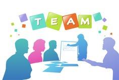 Colourful ludzie biznesu sylwetek, grupa różnorodność biznesmena brainstorming wykresy, pomyślny drużynowy pojęcie A4 royalty ilustracja