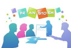Colourful ludzie biznesu sylwetek, grupa różnorodność biznesmena brainstorming wykresy, pomyślny drużynowy pojęcie A4 ilustracji