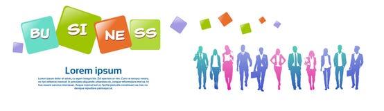 Colourful ludzie biznesu sylwetki, grupa różnorodność biznesmen i kobieta, pomyślny drużynowy pojęcie, sztandar kopia ilustracja wektor