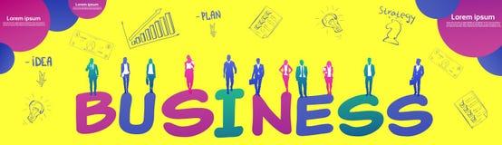 Colourful ludzie biznesu sylwetki, grupa różnorodność bizneswoman i mężczyzny brainstorming, żółty tło royalty ilustracja