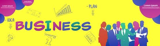 Colourful ludzie biznesu sylwetki, grupa różnorodność bizneswoman i mężczyzny brainstorming plan, żółty tło ilustracji