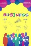 Colourful ludzie biznesu sylwetki, grupa różnorodność bizneswoman i mężczyzny brainstorming plan, żółty tło ilustracja wektor