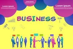 Colourful ludzie biznesu sylwetki, grupa różnorodność bizneswoman i mężczyzny brainstorming plan, żółty tło royalty ilustracja