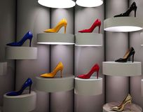 Colourful stilettos on display royalty free stock photography