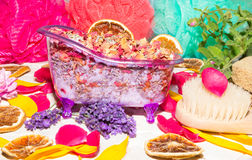 Colourful luxury bathing still life Stock Photos