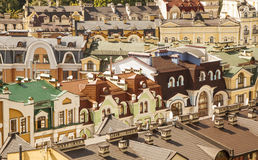 Colourful luxury houses. Many colourful houses and roofs in luxury district Royalty Free Stock Images