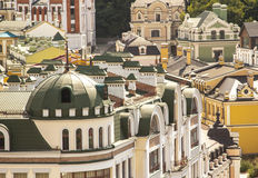 Colourful luxury houses. Many colourful houses and roofs in luxury district of Kiev, Ukraine Royalty Free Stock Image