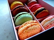 Colourful macaroons in a box. Eight macaroons of different colors in a box Stock Photos