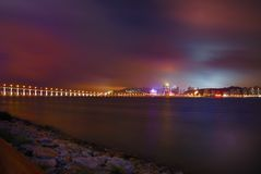 Colourful Macau cityscape of bridge Stock Photography