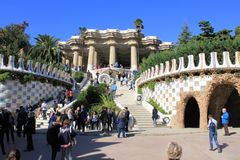 Parc Guell in Barcelona, Spain. Colourful and magic parc Guell in Barcelona, capital of Catalonia in Spain. A public parc with many gardens on Carmel Hill royalty free stock images