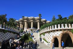 Parc Guell in Barcelona, Spain. Colourful and magic parc Guell in Barcelona, capital of Catalonia in Spain. A public parc with many gardens on Carmel Hill royalty free stock photo