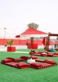 Colourful majlis Arabian style seating arrangement Royalty Free Stock Photography