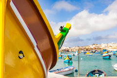Colourful Maltese boats in Marsaxlokk Stock Images
