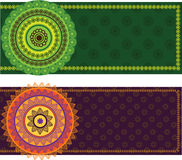 Colourful Mandala Banner With Border Royalty Free Stock Image
