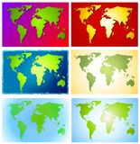 Colourful Maps of The World. An illustration featuring your choice of 6 colourful world maps in an assortment of tones and textures Vector Illustration