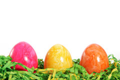 Colourful marbled Easter Eggs greeting card Stock Images