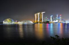Colourful Marina Bay cityscape Royalty Free Stock Images