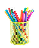 Colourful markers in holder Royalty Free Stock Photo