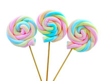 Colourful marshmallow on white background Stock Photos