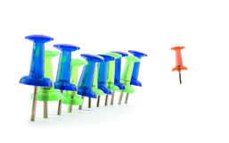 Colourful mass of stationery pins Royalty Free Stock Images