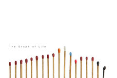 The Colourful of matches. Set of match at different stages isolated on white background. Graph Abstract of life Royalty Free Stock Photos
