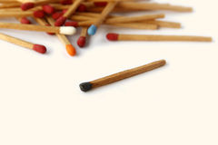 The Colourful of matches. Colourful of matches are on white background. Business abstract, meeting, expelling Stock Image