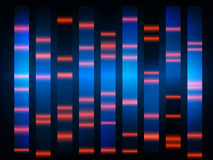 Colourful medical dna results with black background Royalty Free Stock Photos