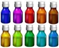 Colourful medicine bottles Stock Images