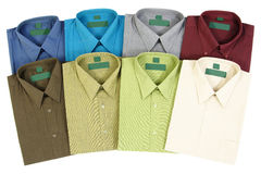 Colourful Men's Shirts. Eight Colourful Men's Shirts Isolated on White Background Stock Images