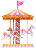 A colourful merry-go-round. Illustration of a colourful merry-go-round on a white background Stock Photography