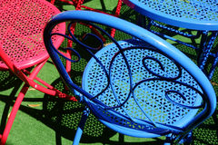 Colourful Metal Outdoor Chairs Royalty Free Stock Photo