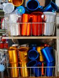 Colourful Metal Pitchers Stock Photography
