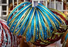 Colourful metali bangles zdjęcia stock