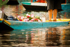 Colourful Mexican gondolas at Xochimilco's Floating Gardens in M Stock Photo